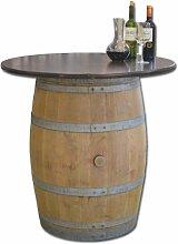 Dekofass, Stehtisch aus echtem Weinfass, Gartentisch mit Tischplatte Nussbaum D100 cm - Fass natur unbehandel