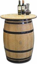 Dekofass, Stehtisch aus echtem Weinfass, Gartentisch mit Tischplatte Klarlack D80 cm - Fass geschliffen und lackier