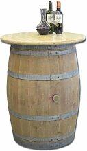 Dekofass, Stehtisch aus echtem Weinfass, Gartentisch mit Tischplatte Klarlack D80 cm - Fass natur unbehandel