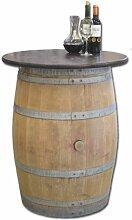 Dekofass, Stehtisch aus echtem Weinfass, Gartentisch mit Tischplatte nussbaumfarben lackiert D80 cm - Fass natur unbehandel