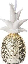 Dekofigur Ananas in Weiß und Gold
