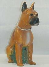 Dekofigur Boxer mit Bewegungsmelder klein Höhe 40 cm Hundefigur aus Kunststoff