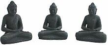Dekofigur Buddha 3er Set aus Stein Meditation Feng Shui Gartenfigur Dekoration