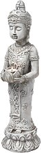 Dekofigur Buddha mit Windlicht, grau