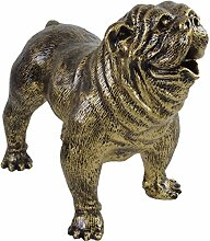 Dekofigur Bulldogge 38x25x44cm klein gold/schwarz Polyresin stehend Gartendeko