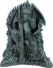 Dekofigur Drachenfigur Drache auf Thron mit