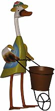 Dekofigur ENTE Schubkarre Hut Pflanztopf Metall handbemalt Gartendeko Blechente
