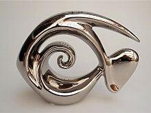 Dekofigur FISCH ATLANTIK Keramik silber glänzend