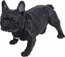 Dekofigur franz. Bulldogge 38x25x44cm klein schwarz Polyresin stehend Gartendeko