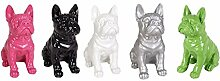 Dekofigur Französische Bulldogge 29cm Tierfigur Gartendeko Wachhund Dekohund Neu, Farbe:silber