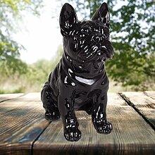 Dekofigur Französische Bulldogge 29cm Tierfigur Gartendeko Wachhund Dekohund Neu, Farbe:schwarz