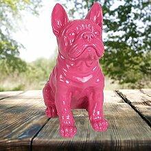 Dekofigur Französische Bulldogge 29cm Tierfigur Gartendeko Wachhund Dekohund Neu, Farbe:pink