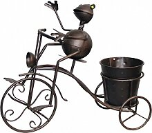 Dekofigur Frosch auf Fahrrad mit Blumentopf Pflanztopf Metall Farbe bronce