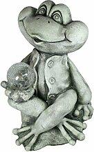 Dekofigur Frosch mit Solarkugel Gartenfigur