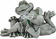 Dekofigur Froschpaar mit Solarblüte Gartenfigur