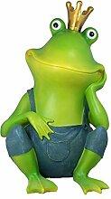 Dekofigur großer Frosch sitzend 52 cm Gartenfigur Froschkönig Frösche