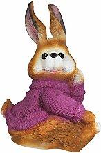 Dekofigur Hase Puschel brombeer mit Pullover Rammler Kaninchen Osterhase Garten Dekoration Ostern