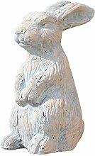 Dekofigur Hase Terrakotta grau - beige Osterdekoration 30cm
