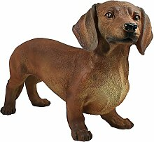 """Dekofigur Hund Hündin Dackel """"Gisbert"""" stehend Tierfigur Skulptur Haushund"""