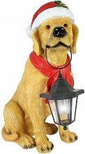 Dekofigur Hund Weihnachten Labrador mit Solarlampe