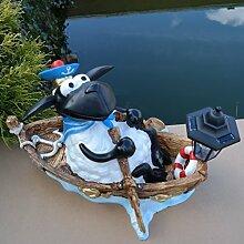 Dekofigur Schaf Molly im Boot Solarlaterne Deko Gartenteich Gartenfigur