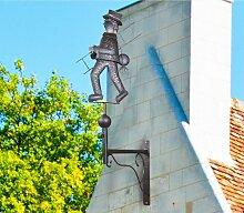 Dekofigur Schornsteinfeger Dachfigur Dekoration Haus in Kupferoptik 89 cm Dachschmuck Dachfirstfigur