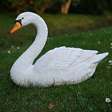 Dekofigur Schwan weiß Ente Vogel Erpel Tierfigur GartenTeich
