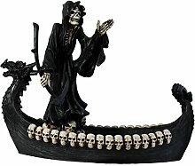 Dekofigur Skelett auf Drachenboot Totenkopf Gothic Mystic Dekoration Wohnung