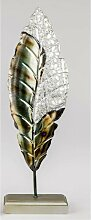 Dekofigur, Skulptur Blätter H. 54cm silber grün