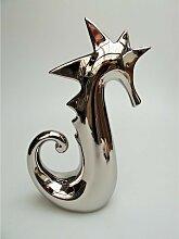 Dekofigur Skulptur Seepferdchen Keramik silber