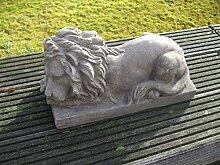 Dekofigur, Statue, Löwe, Skulptur, Sandstein-Optik, 38 cm, links, grau