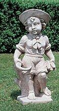 Dekofigur Steinguss Putte Statue Gartenfigur aus Betonwerkstein Gartenskulptur Garten-Statue