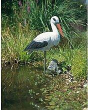Dekofigur Storch weiss Teichdeko, Gartendeko