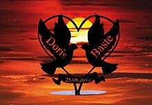 Dekofigur Tauben mit Herz