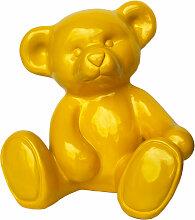 Dekofigur Teddybär Bär gelb Gartendeko Teddy Dekoration Kinderzimmer