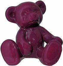 Dekofigur Teddybär Bär lila Gartendeko Teddy Dekoration Kinderzimmer