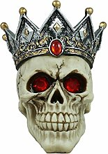 Dekofigur Totenkopf mit Krone Schädel Totenschädel Mystische Dekoration Schädel-Deko Dekorationsfigur