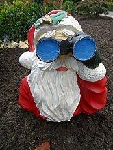 Dekofigur Weihhnachtsmann Figur Santa Claus als Spanner mit Fernglas - lustige Gartendekoration - mit Öffnung an der Unterseite zur Montage auf Stiel - wind- und wetterfest, mit Schutzlack für UV-Beständigkei