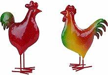 Dekofiguren Hahn und Henne Metall bunt 21-23cm