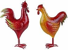 Dekofiguren Hahn und Henne Metall bunt 32-37cm Handarbeit Gartenfigur Osterdeko