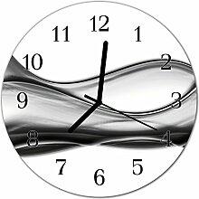 DekoGlas Glasuhr 'Abstrakt grau' Uhr aus