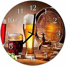 DekoGlas Glasuhr 'Bier Fass braun' Uhr aus