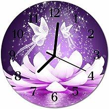 DekoGlas Glasuhr 'Blume violett' Uhr aus