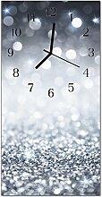 DekoGlas Glasuhr 'Brokat Silber' Uhr aus