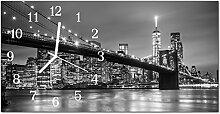 DekoGlas Glasuhr 'Brücke Fluss Grau' Uhr