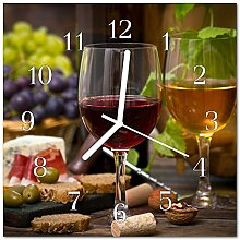 DekoGlas Glasuhr 'Gläser Wein Mehrfarbig'