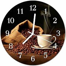 DekoGlas Glasuhr 'Kaffeebohnen braun' Uhr