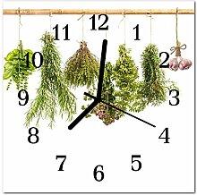 DekoGlas Glasuhr 'Kräuter grün' Uhr aus