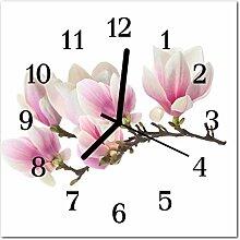 DekoGlas Glasuhr 'Magnolie rosa' Uhr aus