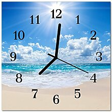 DekoGlas Glasuhr 'Meer blau' Uhr aus